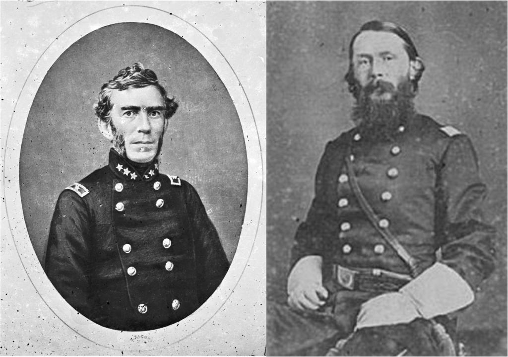 Слева генерал Брэкстон Брэгг справа генерал Вильям Хайнес
