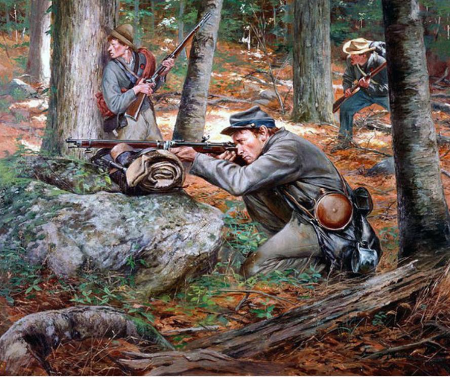 Снайпер южан с винтовкой Витворта. Винтовка