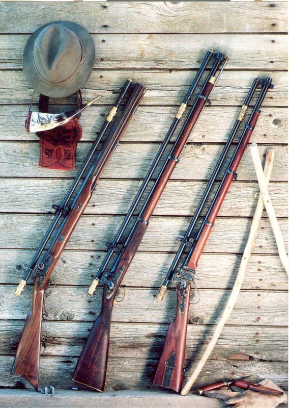 Современные реплики винтовок (слева направо) Мальколма, Витворта и Шарпса