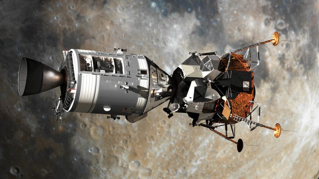 Командный и лунный модули КК «Apollo» на орбите Луны